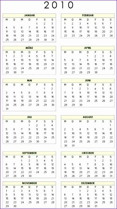 Excel Kalender 2010 Vorlage im Hochformat 382684