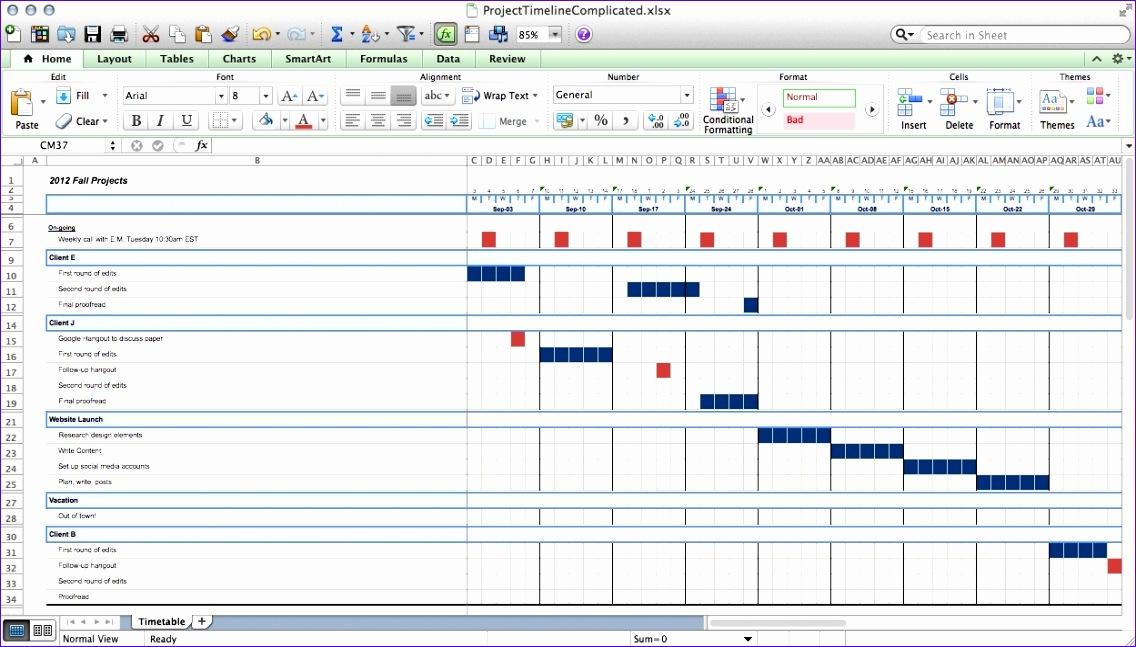 excel 2010 timeline template