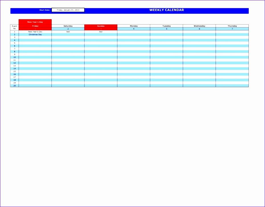 2013 weekly calendar excel template