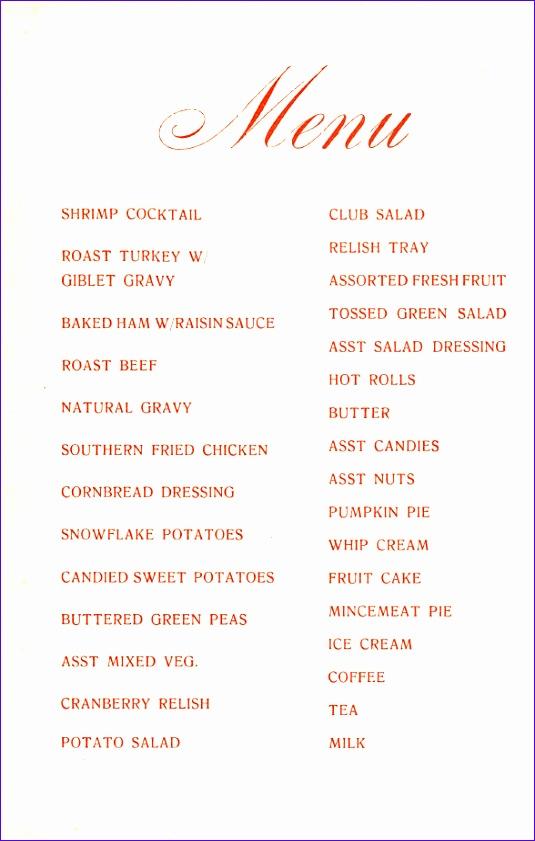 blank christmas menu