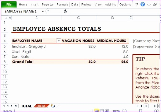 free employee absence tracker for excel 527368