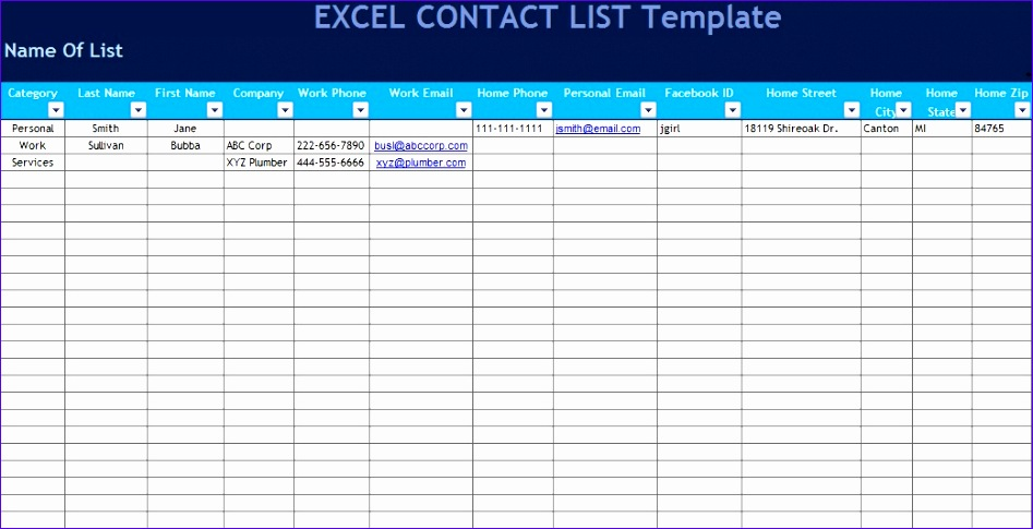 contact list template excel 945 947485