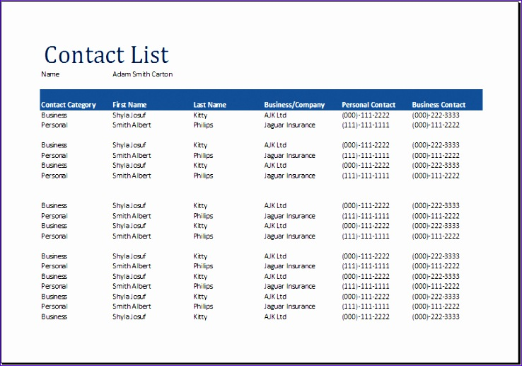 contact list template excel 945 738517