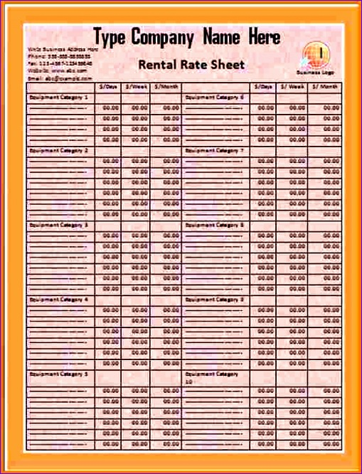 rate sheet template 509666