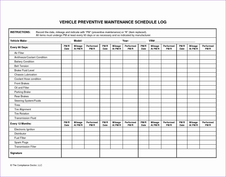 car maintenance checklist spreadsheet 15011173