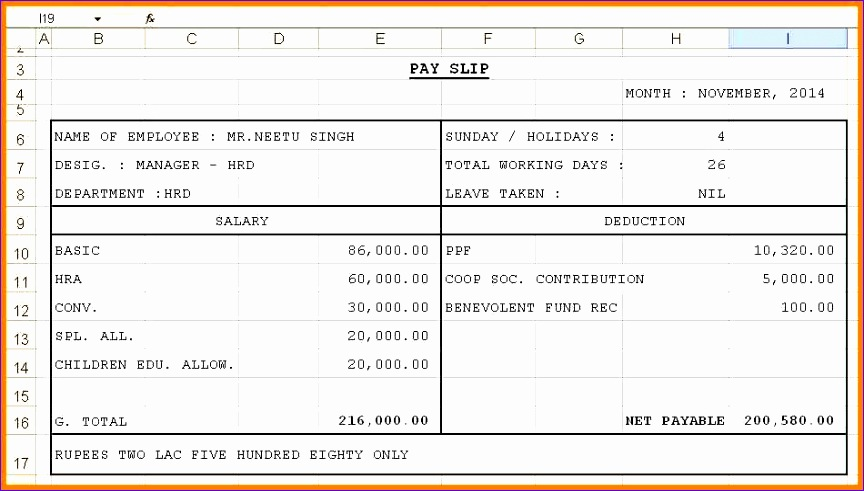 9 employee salary details in excel