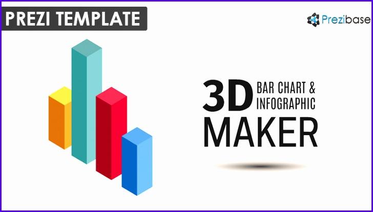 3D bar chart graph infographic prezi template 728414