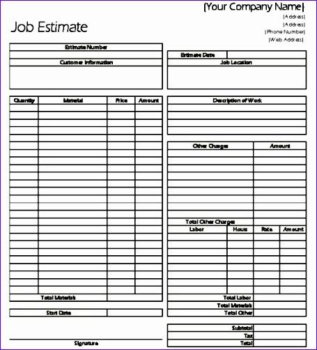 classic job estimate sheet for contractors 455502