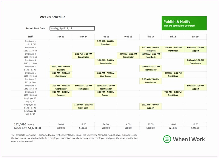 free excel template for employee scheduling 770556