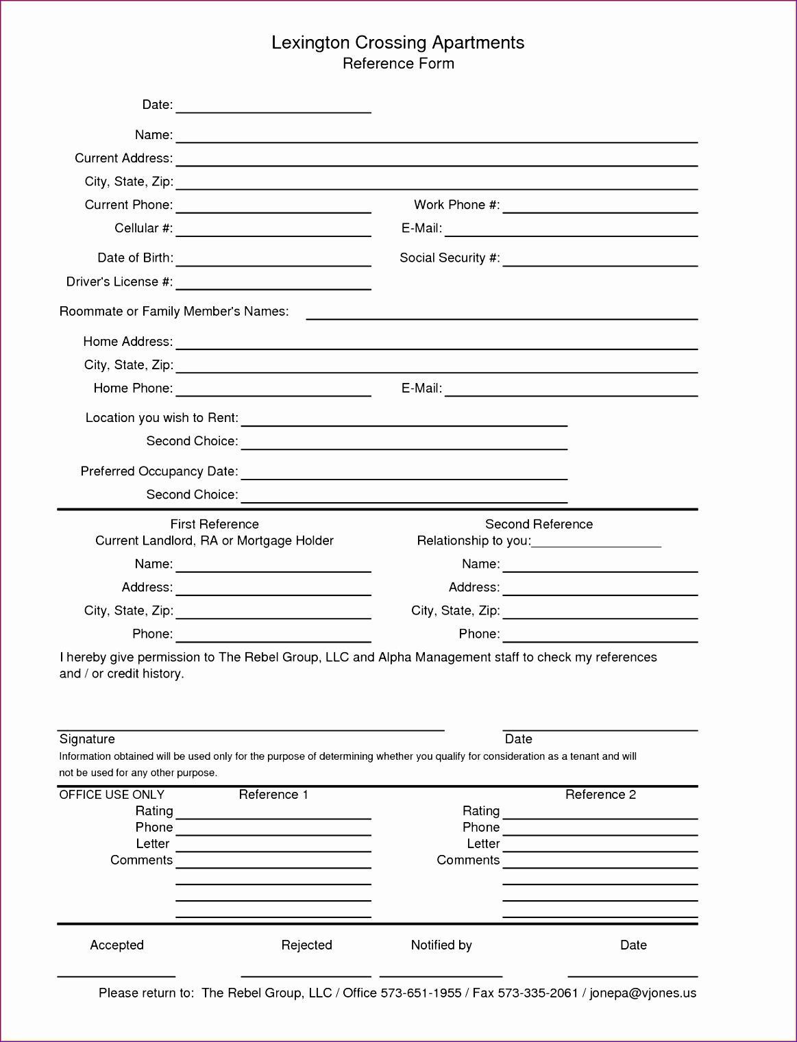 3 rental reference form
