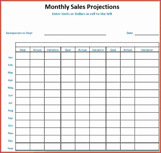 sales projection template 555527