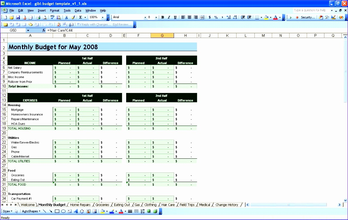 sample wedding bud spreadsheet 1164736