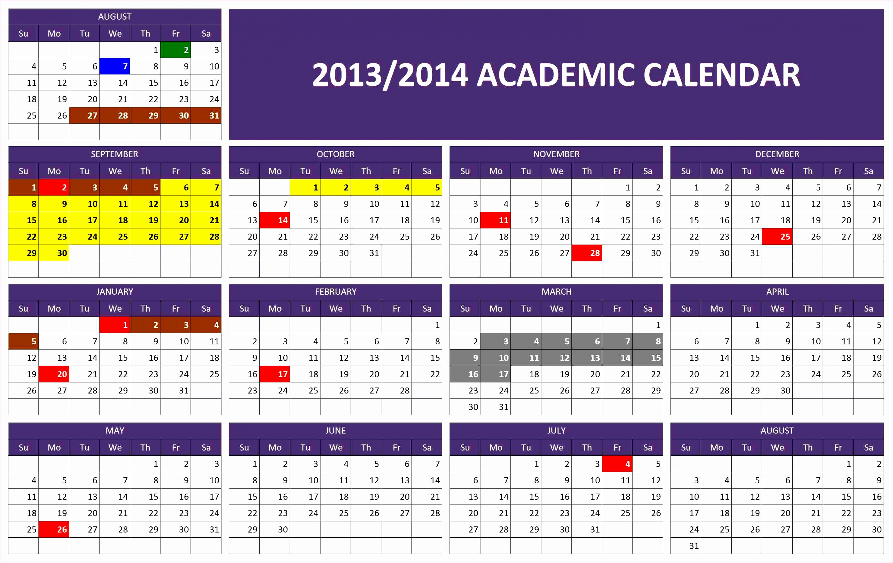 6 excel calendar template 2014 exceltemplates exceltemplates 2013 2014 academic calendar template alramifo Image collections