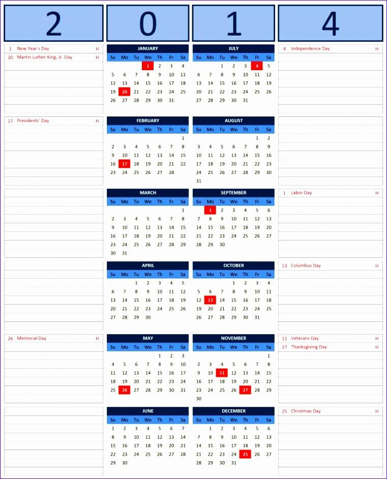 2014 excel calendar template 761942