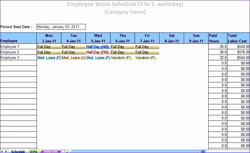 labor schedule layout 834511