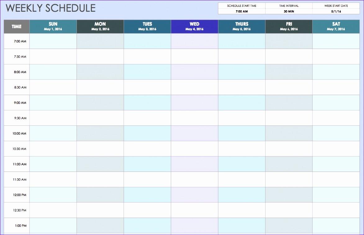 free weekly schedule templates for excel smartsheet gallery 2 1172759