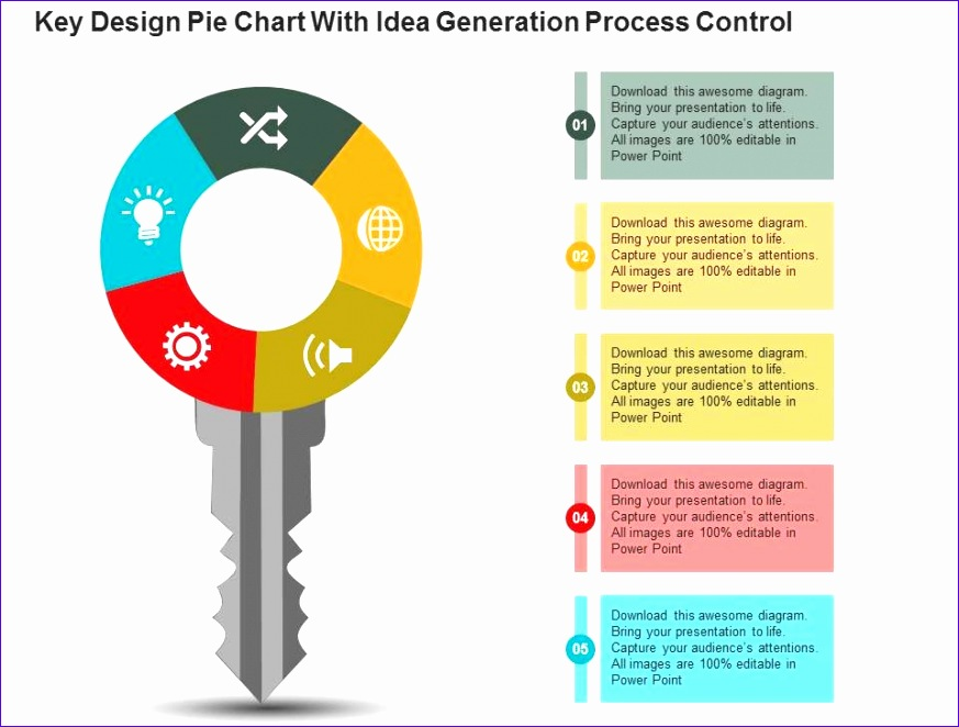key design pie chart with idea generation process control powerpoint slides 873662