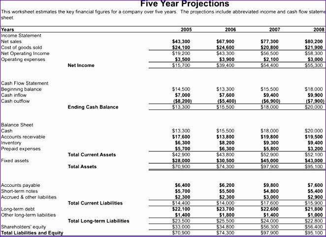 5 year business financial projections 662482