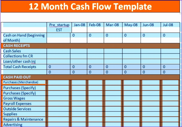 9 excel cash flow template exceltemplates exceltemplates for Quarterly cash flow projection template excel