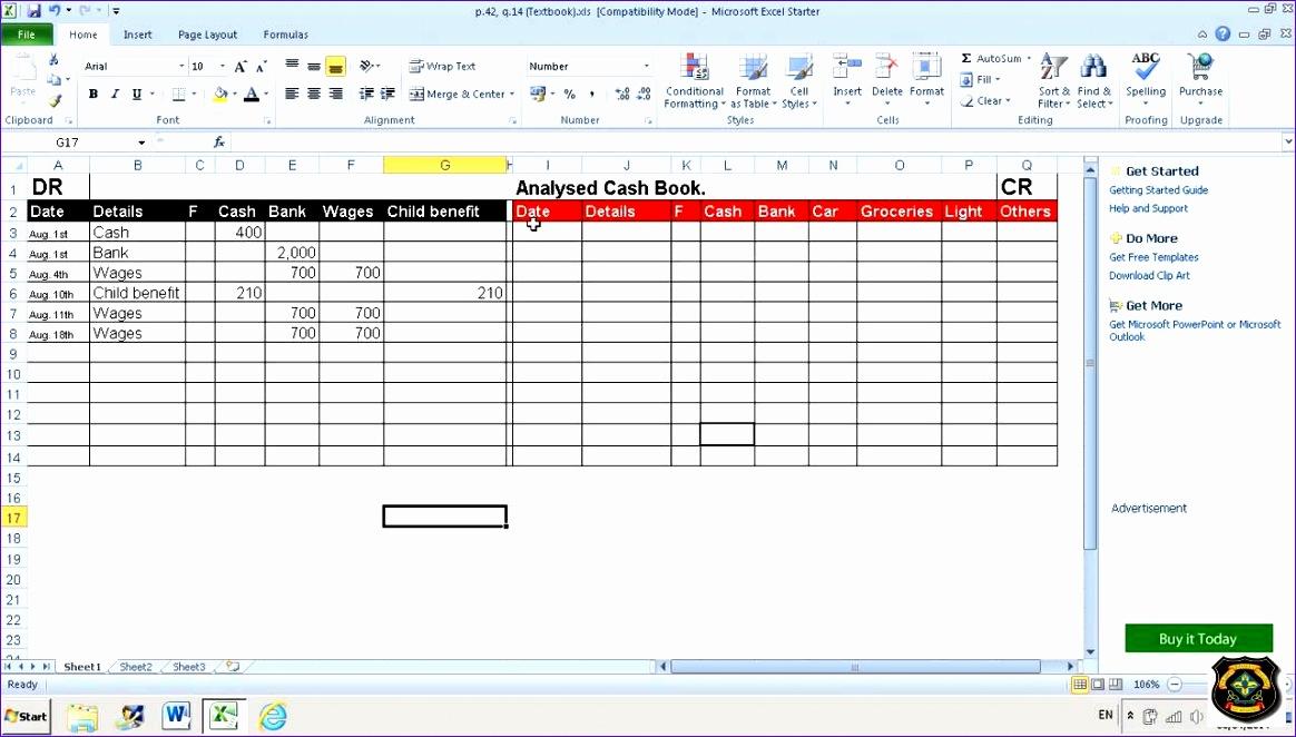 cash book template