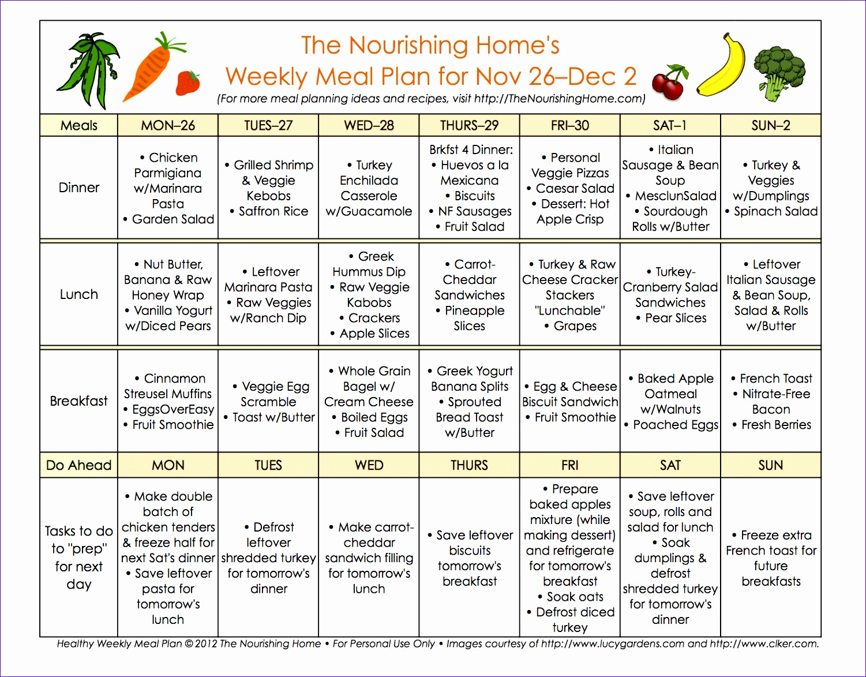 bi weekly meal plan for november 26 december 9