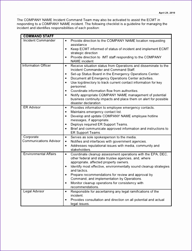 10 excel checklist template 2010 exceltemplates for Incident management policy template