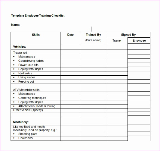 training checklist 532501