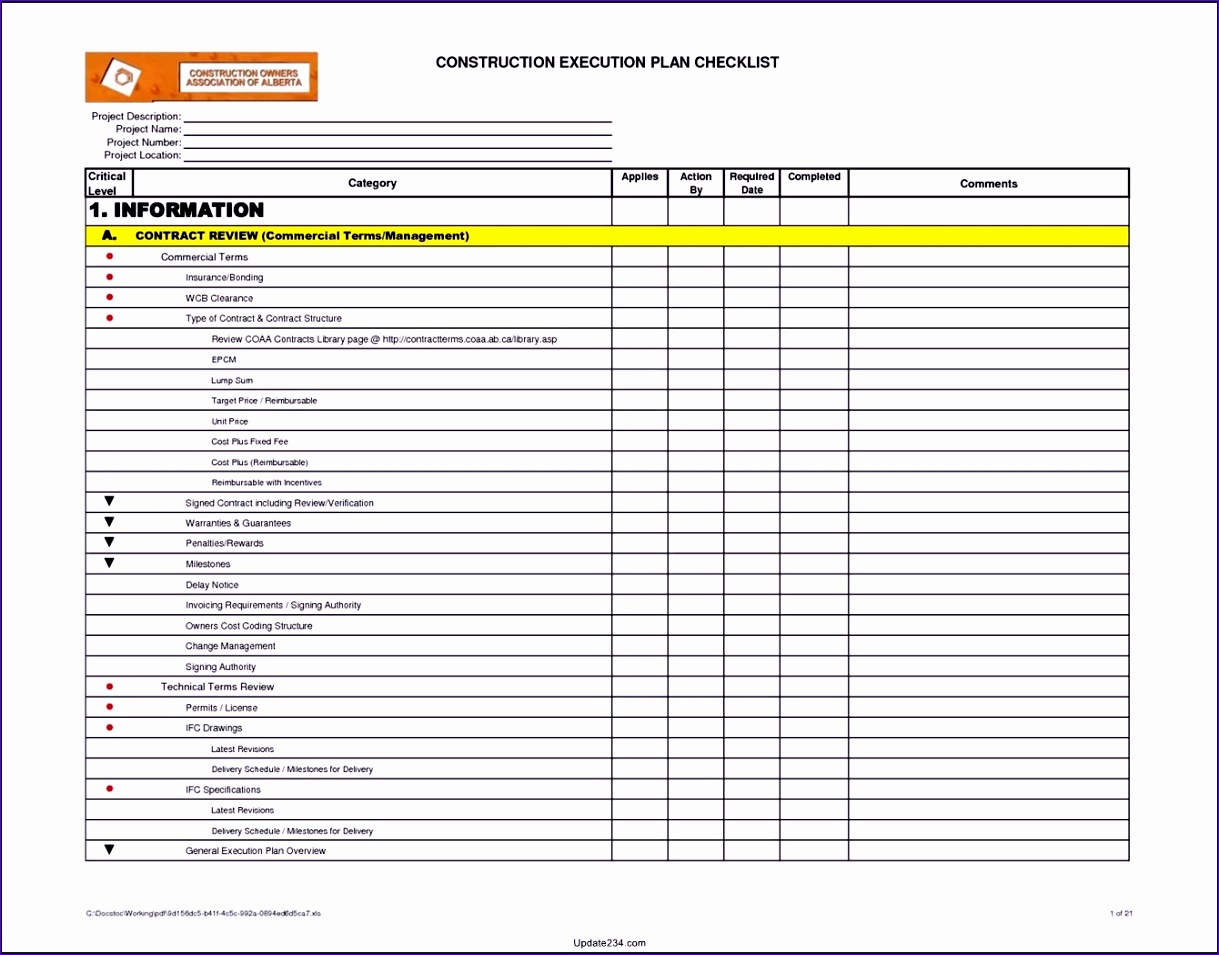 project checklist template excel 1219955