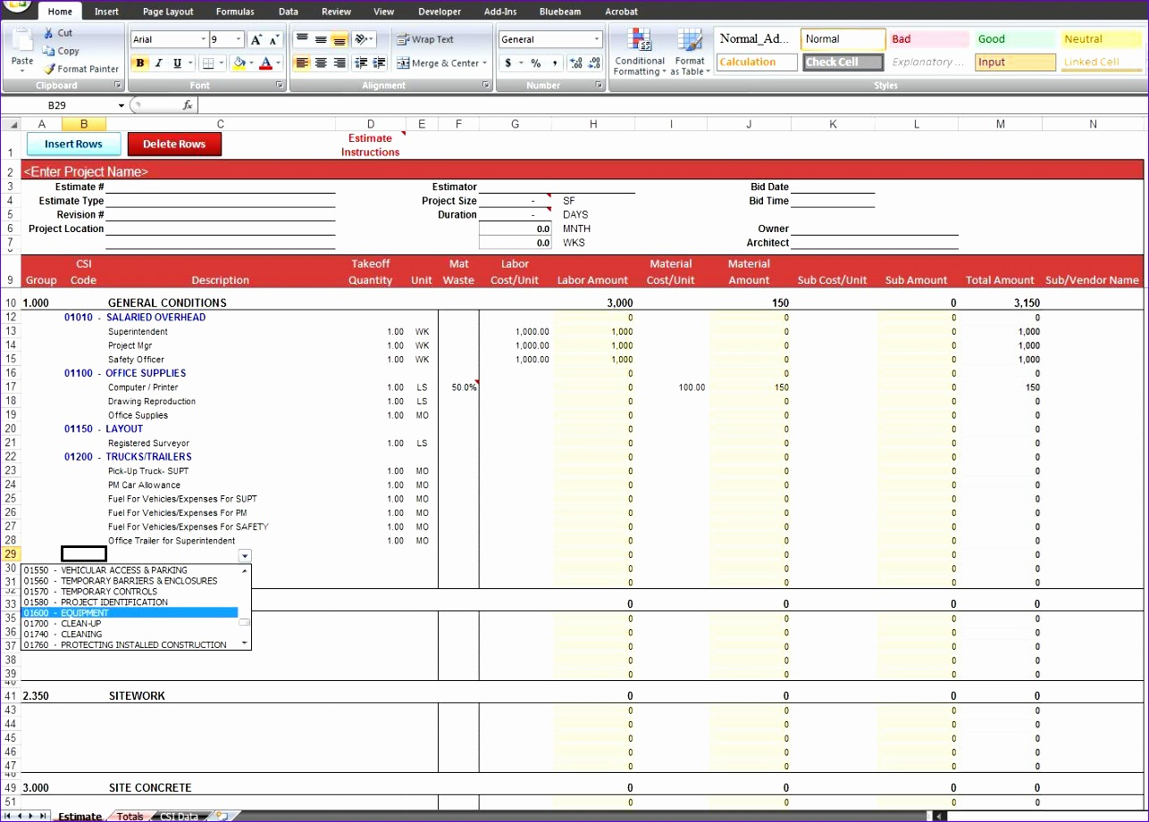 building estimation and costing excel sheet 1286921