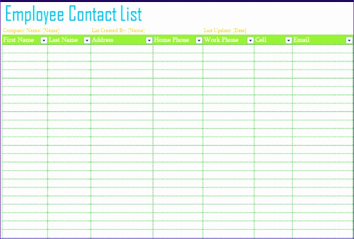 employee contact list template 728491