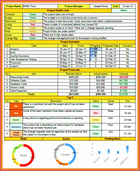 4 one page project status report template 490600