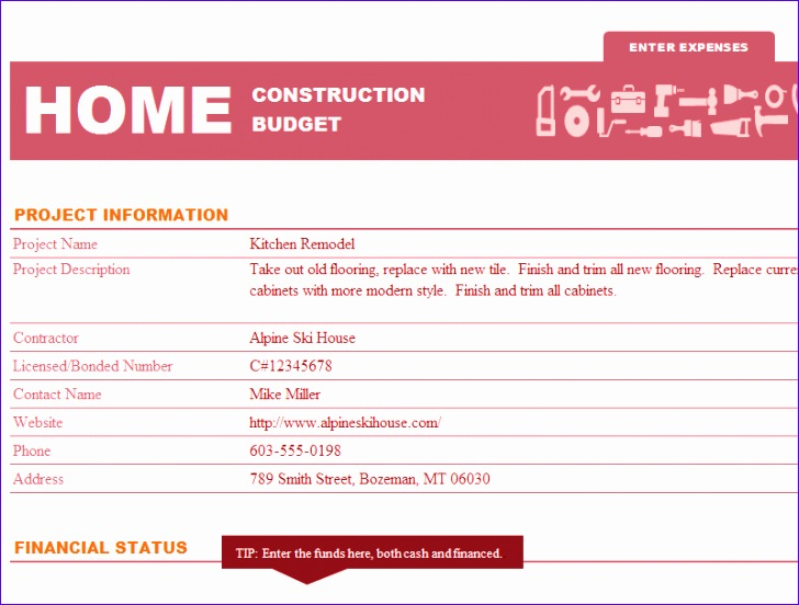 home construction fund and bud template 216