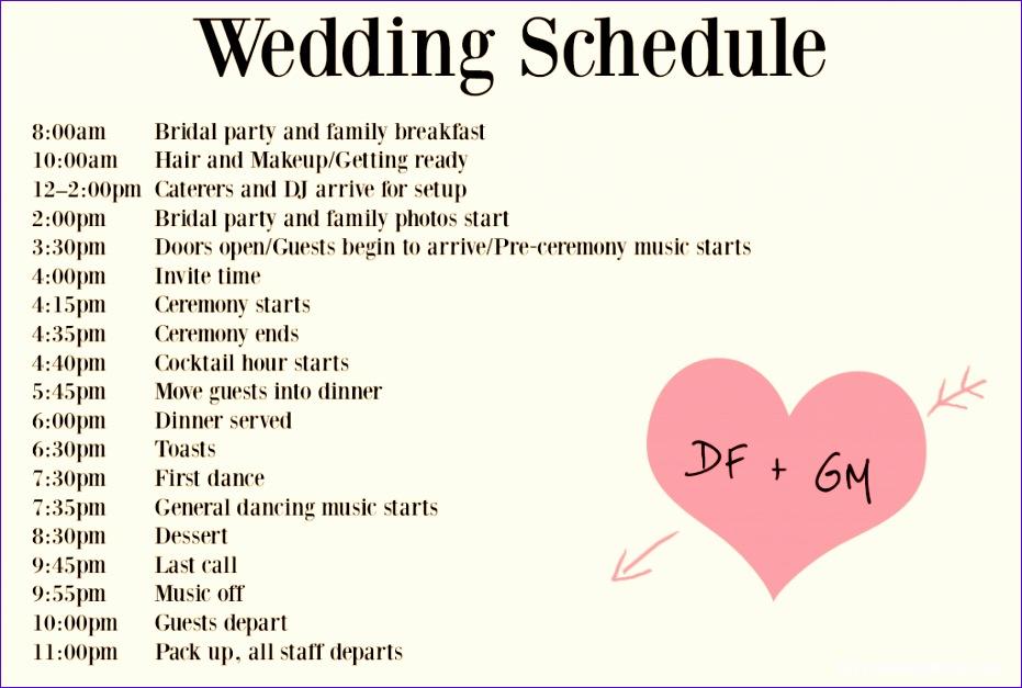 wedding timeline templates