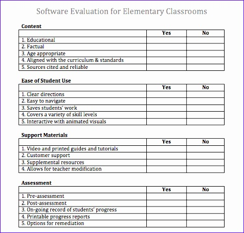 software evaluation matrix template 477457