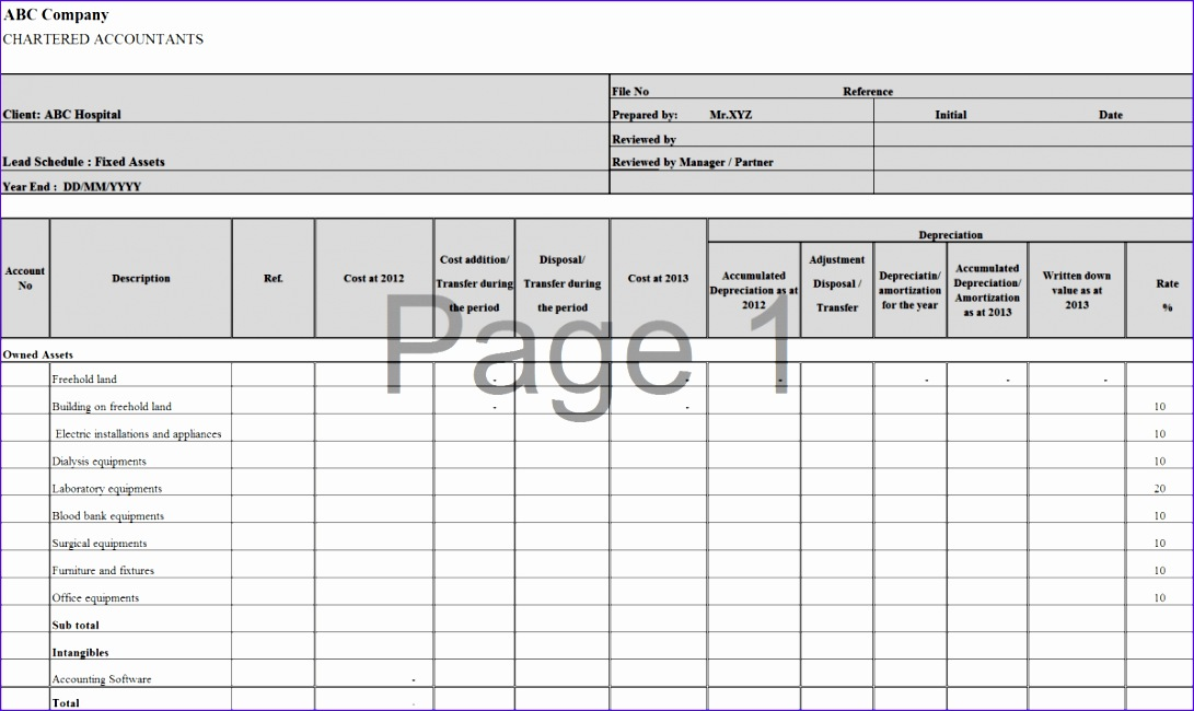 7 excel depreciation template