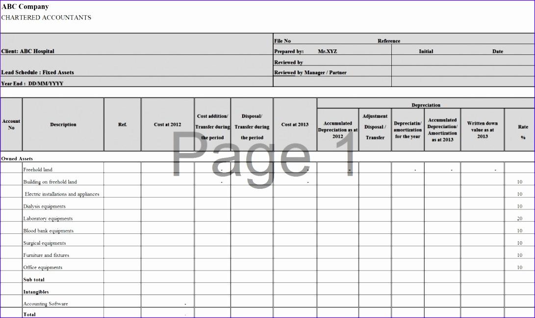 assets depreciation report template