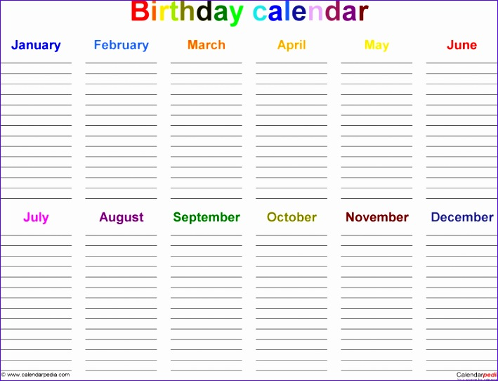 12 month birthday calendar template 709542