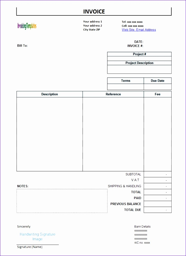 hourly rate invoice template 7371012