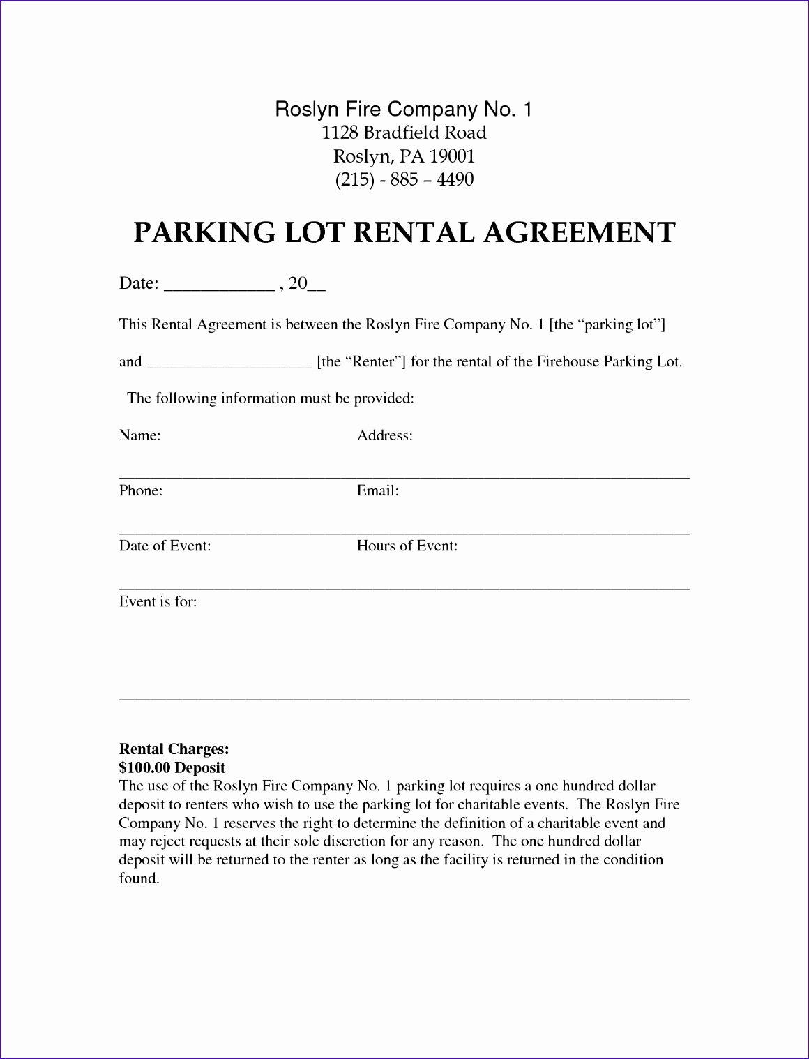 parking lease template