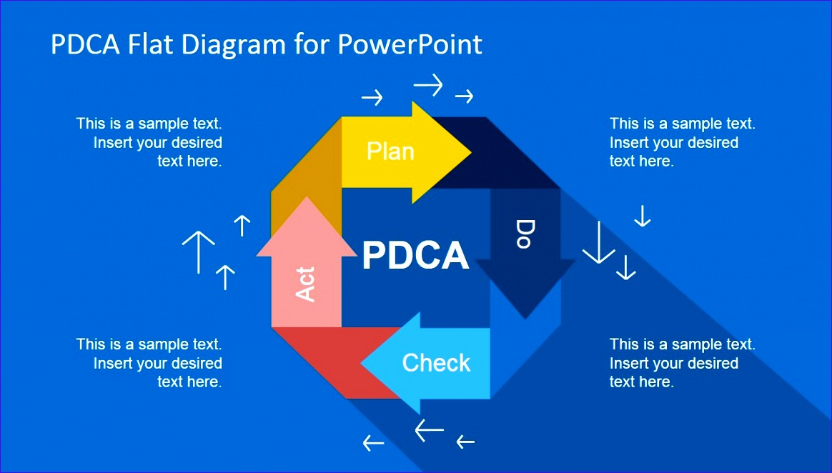 pdca flat diagram powerpoint