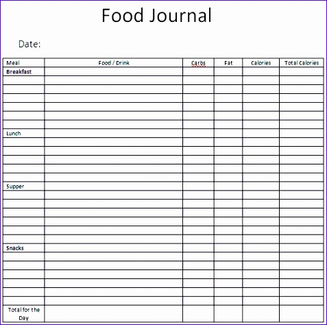 12 excel food diary template exceltemplates exceltemplates