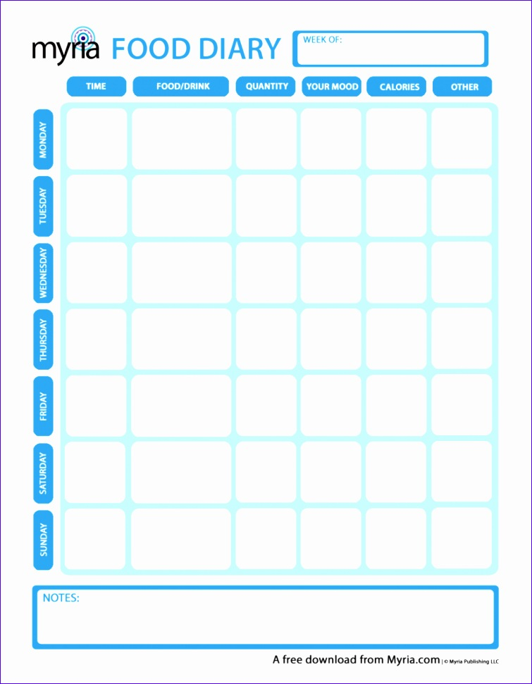 able printable food diary pages