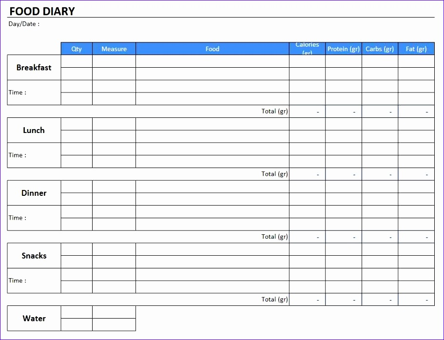 food diary template 911698