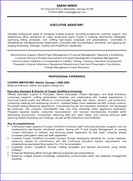 executive administrative assistant resume 438594