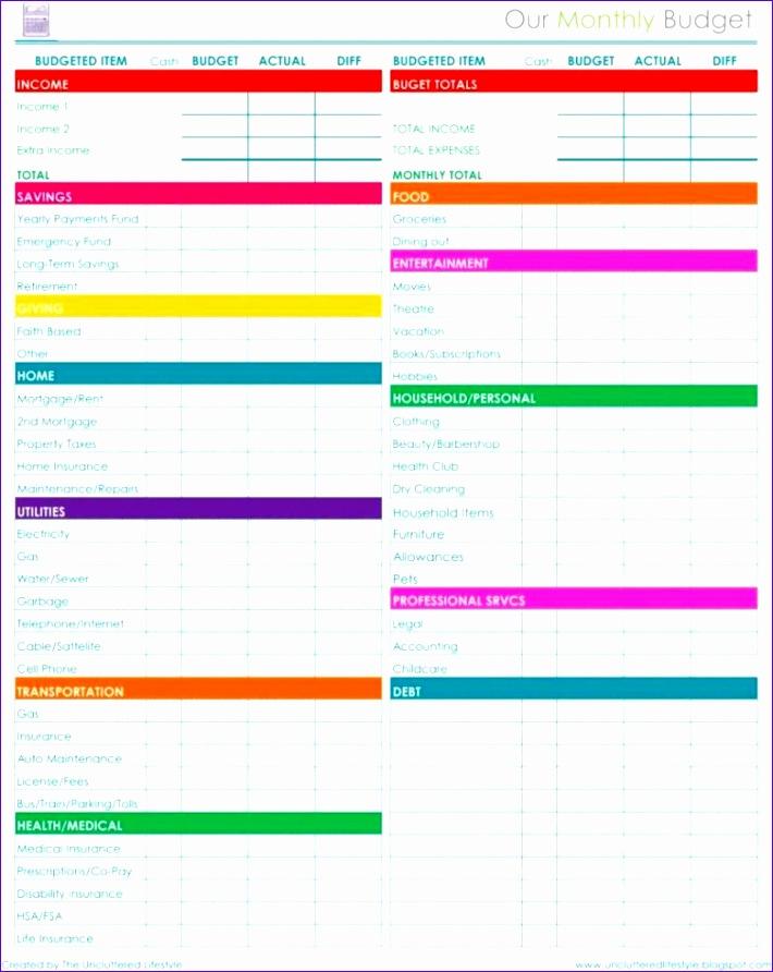 financial bud spreadsheet template 2
