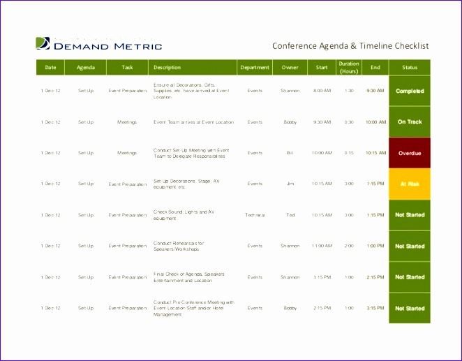 conference agenda timeline checklist