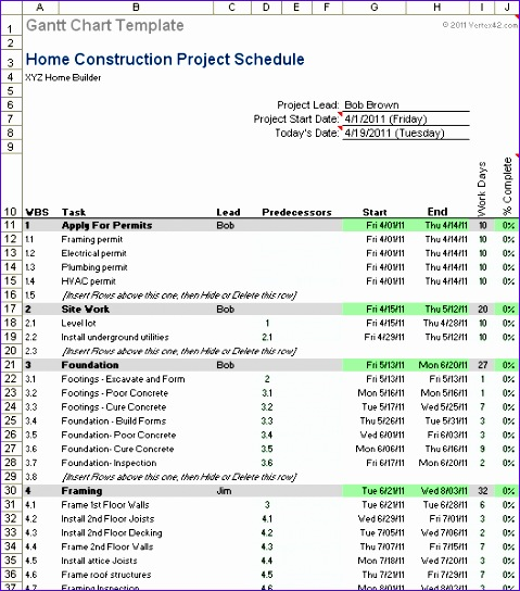 residential construction schedule template excel 890 479544