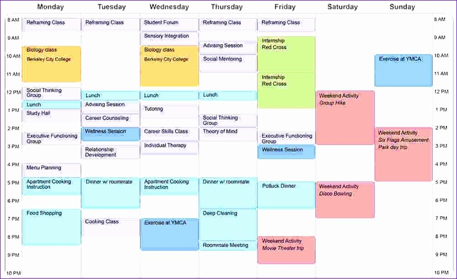 4 student schedule template