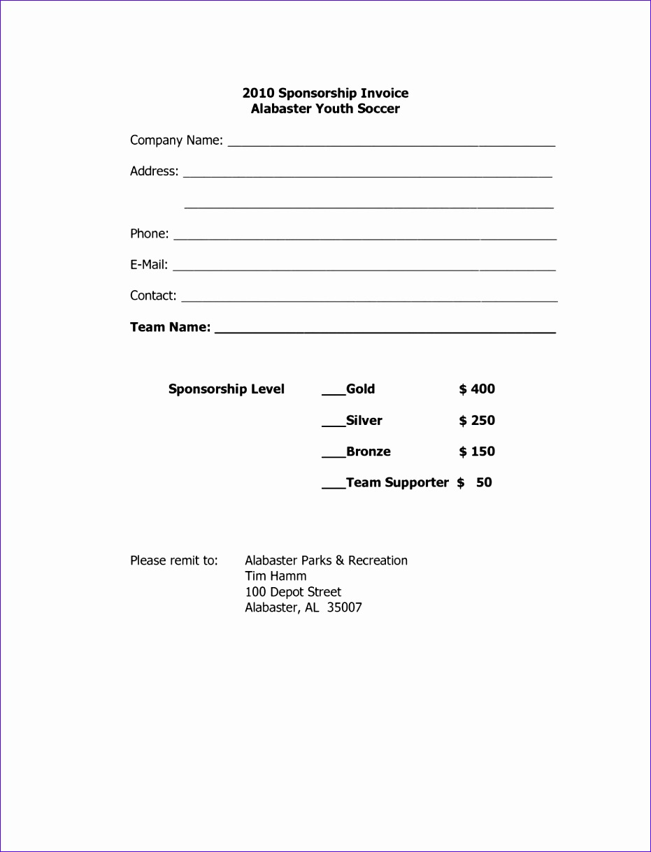 sponsorship invoice template word 1203