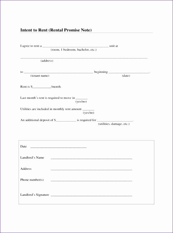 intent to rent form 698942